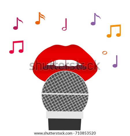 Lips and a microphone, red lips with a microphone, singing a song. Flat design, vector illustration, vector.