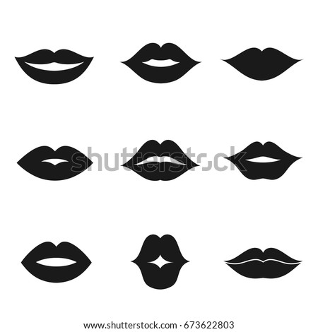 lips black shape icon and