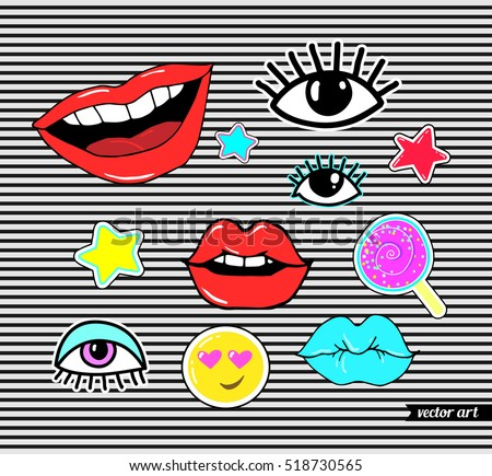 Lips, eye, smile, star, watermelon slice, strawberry. Sticker, patch set collection. Vector artwork. Fashion badges. Wallpaper. Vintage, retro concept. Black and white stripes, red, blue, purple color