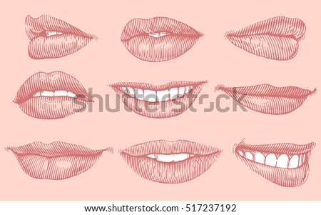 Lips. Hand drawn engraving. Vector vintage illustration. Isolated on color background. 8 EPS