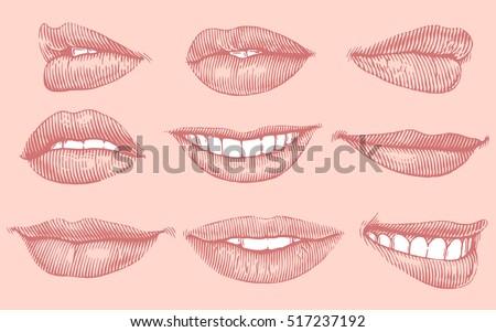 lips. hand drawn engraving....