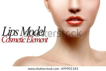 lips model portrait  close up