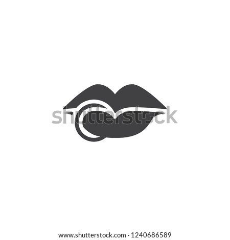 lips ring piercing vector icon