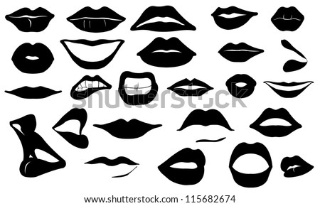 lips set isolated on white