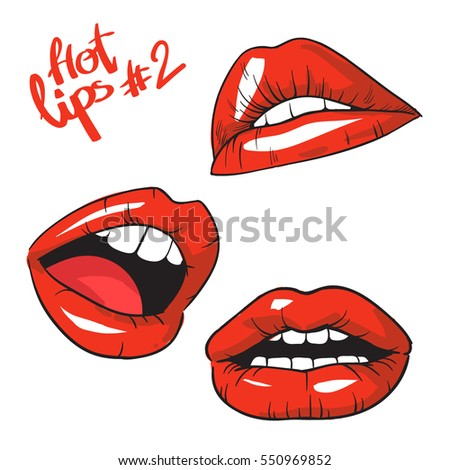 lips set vector icon flat lips