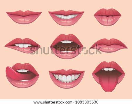 lips set vector illustration