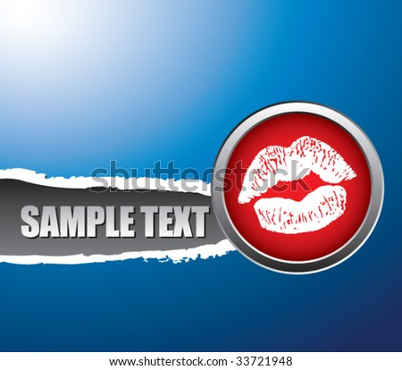 lips smooch on a ripped paper background