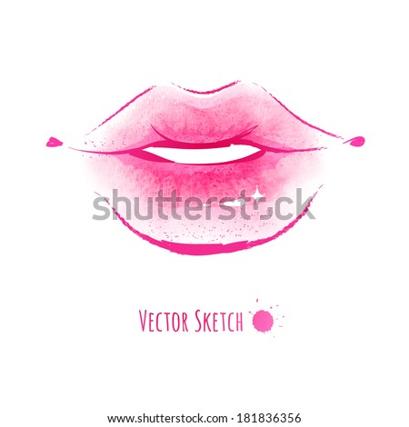 lips watercolor sketch vector