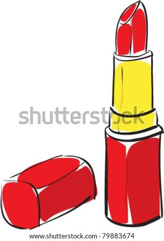 Lipstick cartoon sketch vector illustration