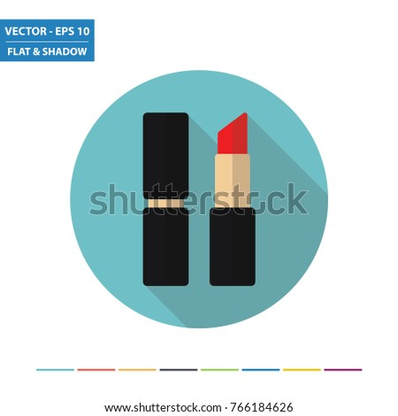 Lipstick flat icon with long shadow. Vector Illustration.