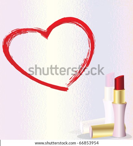 lipstick heart - stock vector