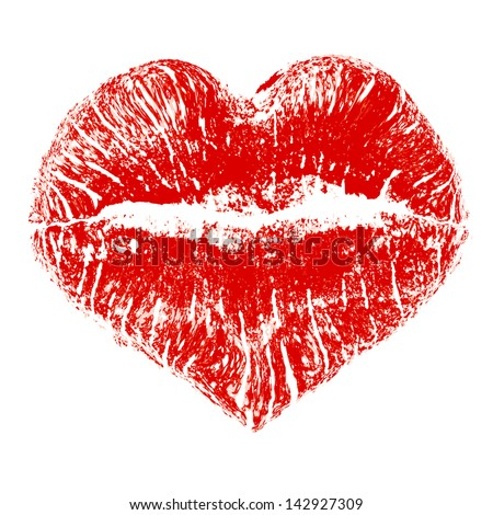 lipstick kiss in heart shape
