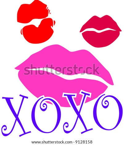 lipstick kiss marks with xoxo