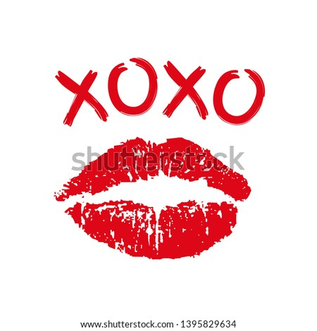 Lipstick Kiss Print White background With Gradient Mesh, Vector Illustration