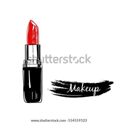 Lipstick. Makeup collection. Vector template.