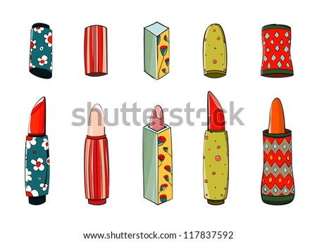 Lipstick Set Colorful Drawing. EPS8 layered vector illustration. No effects.