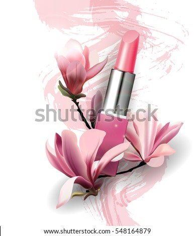 Lipstick with flowers Magnolia. Spring and beauty background.Beauty and cosmetics background. Use for advertising flyer, banner, leaflet. Template Vector.