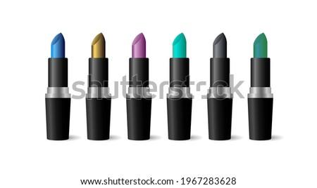 Lipsticks of unusual colors. Set of vector illustrations