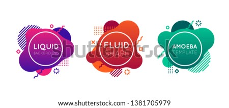 Liquid background templates. Fluid shapes in modern flat style. Amoeba templates with gradients and line elements. Design elements for web banner, poster, flyer. Text in circle. Bright and colorful.