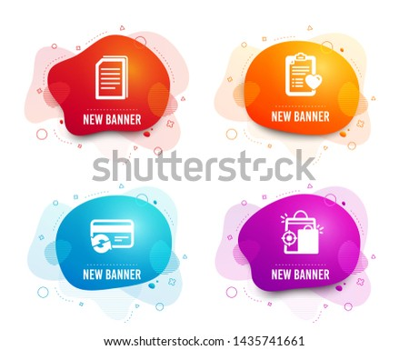 Liquid badges. Set of Copy files, Change card and Patient history icons. Seo shopping sign. Copying documents, Payment method, Medical survey. Analytics.  Gradient copy files icon. Flyer fluid design