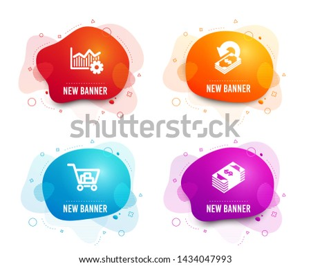 Liquid badges. Set of Operational excellence, Cashback and Internet shopping icons. Usd currency sign. Corporate business, Financial transfer, Cart with purchases. Buying commerce. Vector