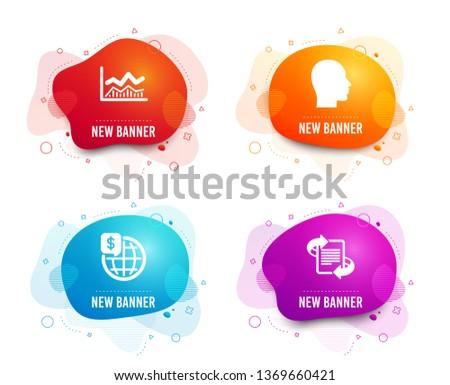 Liquid badges. Set of Trade infochart, World money and Head icons. Marketing sign. Business analysis, Global markets, Human profile. Article.  Gradient trade infochart icon. Flyer fluid design