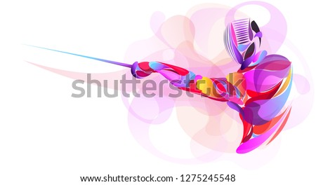 Liquid, Blob multi colour, athlete stylized fencing sport vector