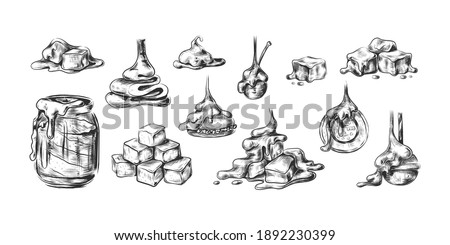 Liquid caramel. Toffee drop sketch style collection, sweet dessert splash, candy syrup or topping for desserts, square sugar candy lollipops. Vector caramelized sauce isolated on white background set