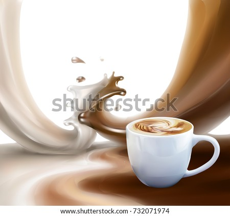 liquid chocolate, caramel or cocoa illustration vector a cup of coffee, cappuccino