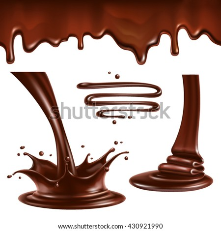 Liquid chocolate. Splashes and drops.