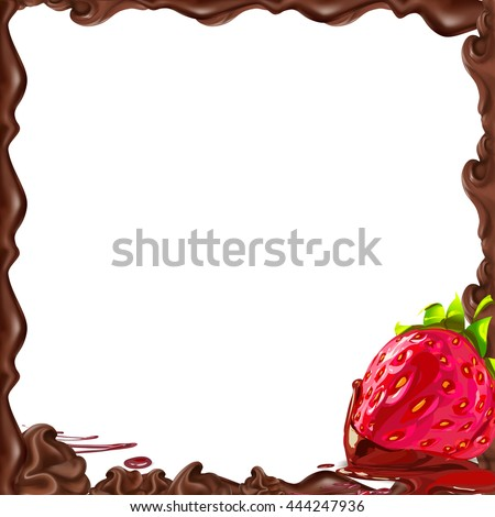liquid chocolate with strawberry frame