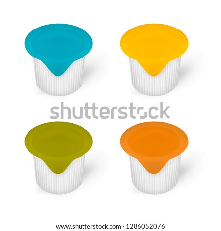 Liquid coffee creamer single package, vector template. Blank portioned plastic container with colored lidding film top, mockup. #1286052076