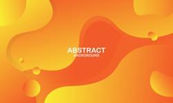 Liquid color background design. Orange elements with fluid gradient. Dynamic shapes composition. Vector illustration