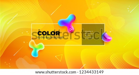 Liquid color background design. Yellow Fluid gradient shapes composition. Futuristic design posters. Eps10 vector. #1234433149