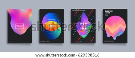 Liquid color covers set. Fluid shapes composition. Futuristic design posters. Eps10 vector. #629398316