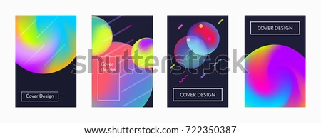 Liquid color covers set. Fluid shapes composition. Futuristic design posters. Eps10 vector. #722350387