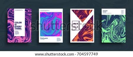 Liquid colors covers set. Trendy colors mixture. Eps10 vector.
