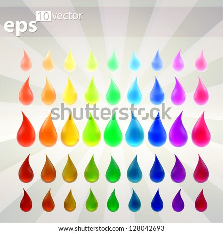 Liquid drop collecton of colorful indicator vector emblems, rainbow colored from lighten to darken