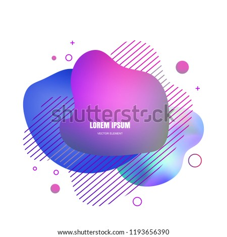 Liquid elements, mixed color plastic shapes or various organic bubbles for modern design. Abstract 3d vector fluid gradients, splashes or blob brush doodles