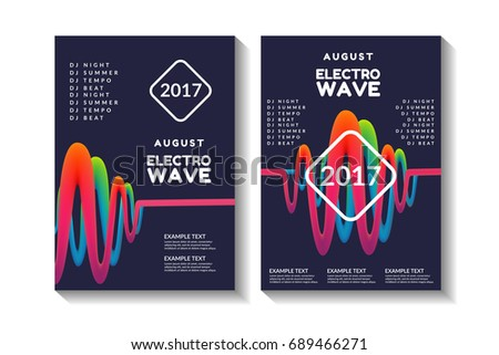 Liquid, flow, sound wave, fluid background. Electro summer wave music poster. Abstract colored waves music background. Applicable for gift card,cover,poster