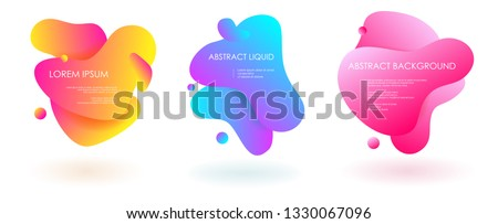 Liquid fluid 3 abstract vector banners. 3D style with shadows design. Vector liquid template design backround illustration. Can be used for banners flyers or web. EPS 10. #1330067096
