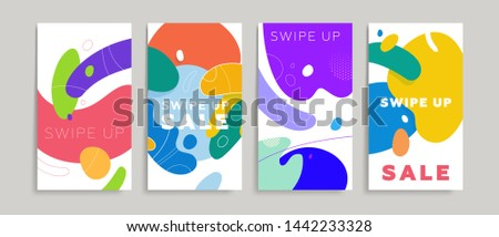 Liquid fluid banners backgrounds set for social media promo, sale flyers and brochures. Swipe up text for trendy design. Eps10 vector illustration