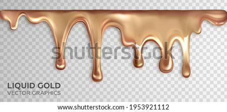 Liquid gold, dripping drops of rose gold. Realistic 3d vector design Сток-фото ©
