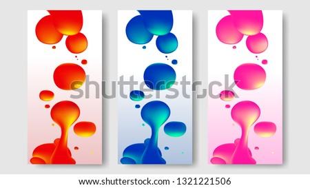 Liquid lava lamp vector background set for banner, card or UI web design.  Colorful gradient mesh bubbles fire red, blue and pink on white. Fluid abstract shapes in mask EPS 10