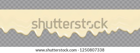Liquid mayonnaise white seamless texture. Mayonnaise realistic repeat texture isolated on transparent background. Cream pouring background. Vector gradient mesh.