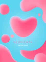 Liquid neon lava lamp vector geometric background for banner, card or UI design on Valentines day.  Gradient mesh bubble in the shape of a pink heart. Fluid colorful abstract shapes in mask EPS 10