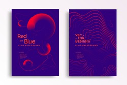 Liquid poster design template in duotone gradients. Cover design with red and blue fluid color shapes composition. Futuristic design for flyer.