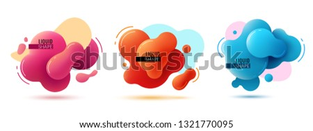 Liquid shape banners. Fluid shapes abstract color elements paint forms memphis graphic texture 3d modern vector design