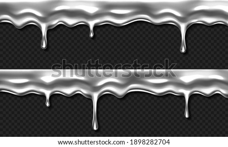 Liquid silver drip, dripping metal, mercury, chrome gray slime or goo border. Falling drops dribble down, sticky melting blob or nail polish isolated on transparent background, Realistic 3d vector set