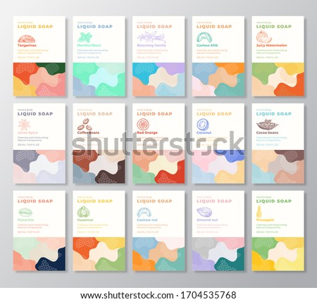 Liquid Soap Label Templates Collection. Abstract Shapes Camo Background Vector Covers Set. Cosmetics Packaging Design Bundle. Hand Drawn Nuts, Fruits, Berries and Spices Sketches. Isolated.